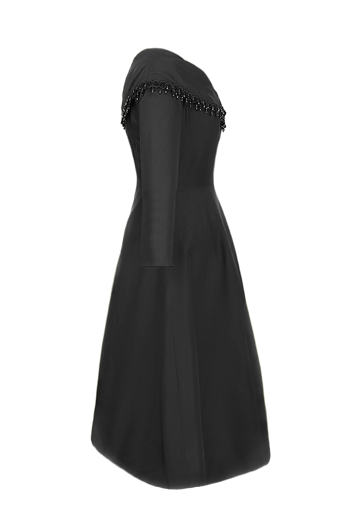 b56f34b3f8bf Saks Fifth Avenue Black Taffeta Dress - Vintage Voyage store