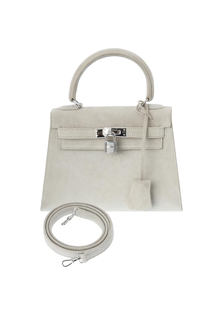 Hermès mini-Kelly Light Grey Suede Bag - Vintage Voyage store d33fe57e024