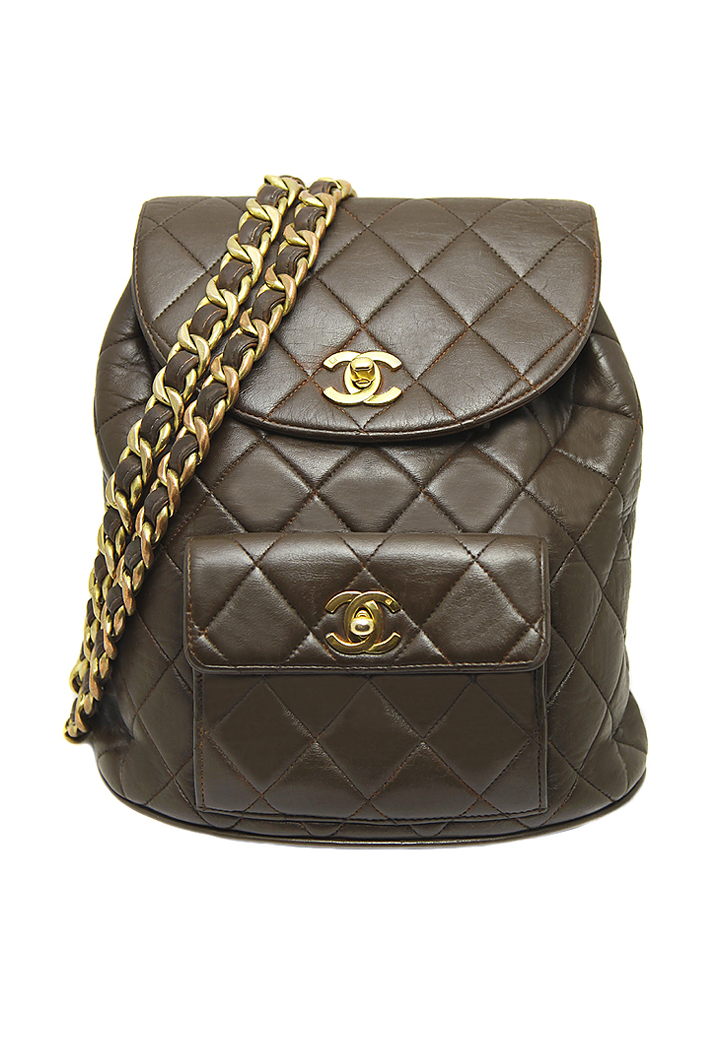 0112725959ad45 Chanel Brown Leather Backpack - Vintage Voyage store