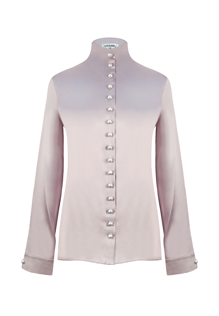 4cbb63a261576 Chanel Silk Blouse With Pearl Buttons - Vintage Voyage store