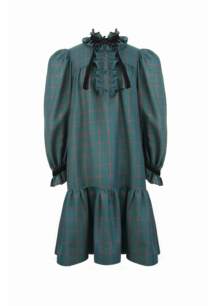 9ee0bfb8751 Yves Saint Laurent Russian Collection Plaid Dress - Vintage Voyage store